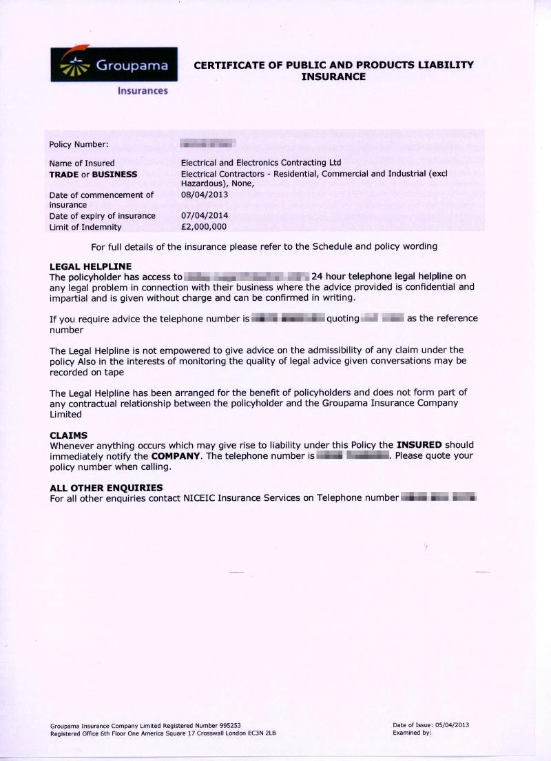 insurance eec certificate documents